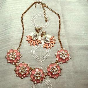 Natasha pink & crystal necklace & earrings set